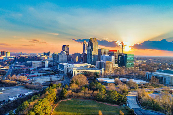 Photo of Raleigh skyline at sunset