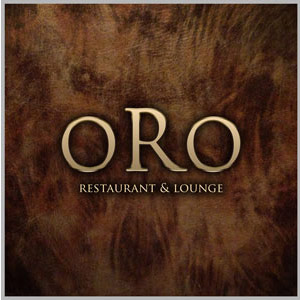 Oro Restaurant and Lounge Logo - Tan serif type on dark stained wood background