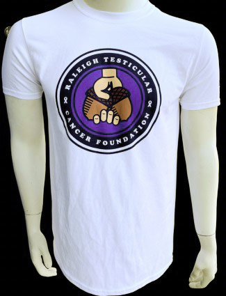White T-Shirt with Raleigh Testicular Cancer Foundation logo in center