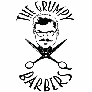 The Grumpy Barbers Logo - Black sans-serif type with illustration of barbers face and scissors in middle